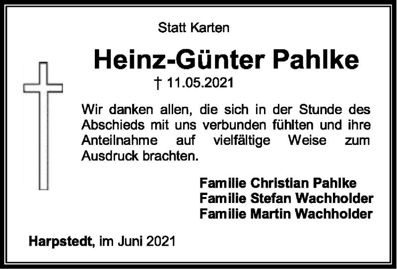 Traueranzeige für Heinz-Günter Pahlke vom 05.06.2021 aus SYK