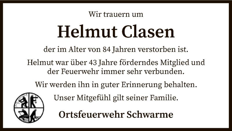 Traueranzeige für Helmut Clasen vom 04.06.2021 aus SYK