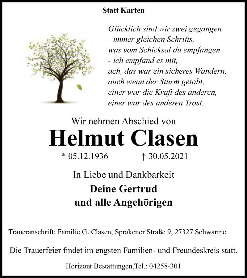 Traueranzeige für Helmut Clasen vom 03.06.2021 aus SYK