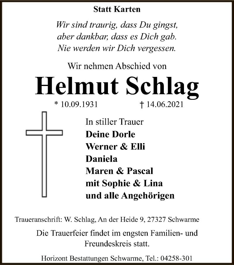 Traueranzeige für Helmut Schlag vom 19.06.2021 aus SYK