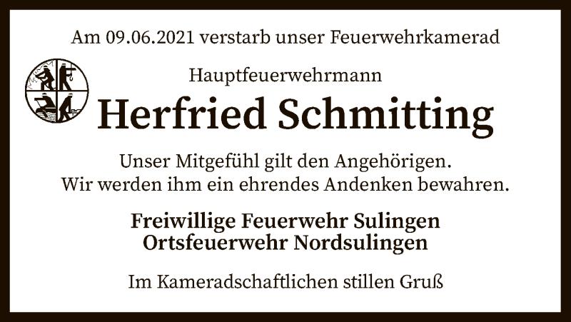 Traueranzeige für Herfried Schmitting vom 12.06.2021 aus SYK