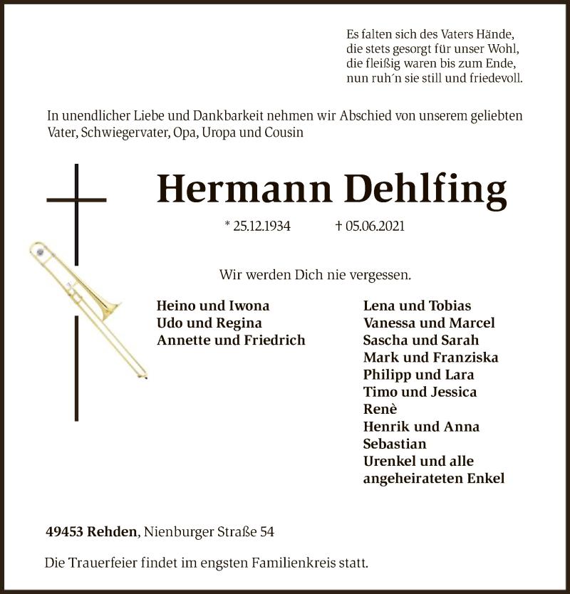 Traueranzeige für Hermann Dehlfing vom 09.06.2021 aus SYK
