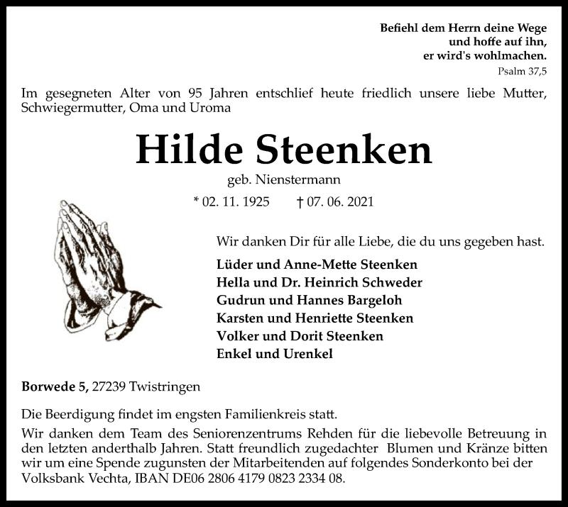 Traueranzeige für Hilde Steenken vom 09.06.2021 aus SYK