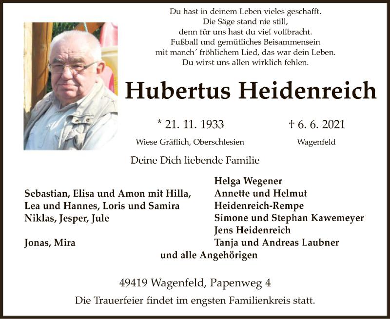 Traueranzeige für Hubertus Heidenreich vom 08.06.2021 aus SYK