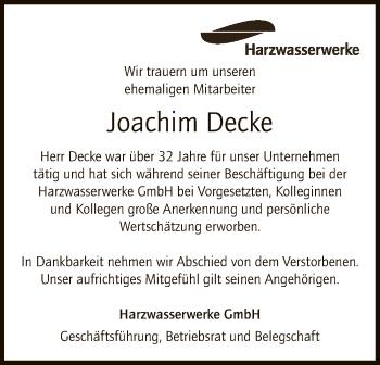 Traueranzeige von Joachim Decke von SYK