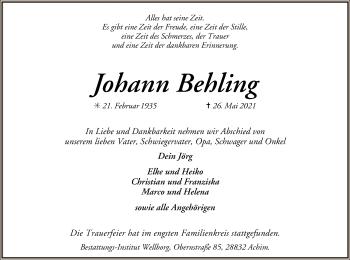 Traueranzeige von Johann Behling von SYK