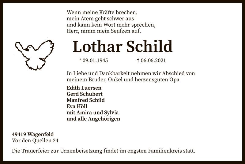 Traueranzeige für Lothar Schild vom 09.06.2021 aus SYK
