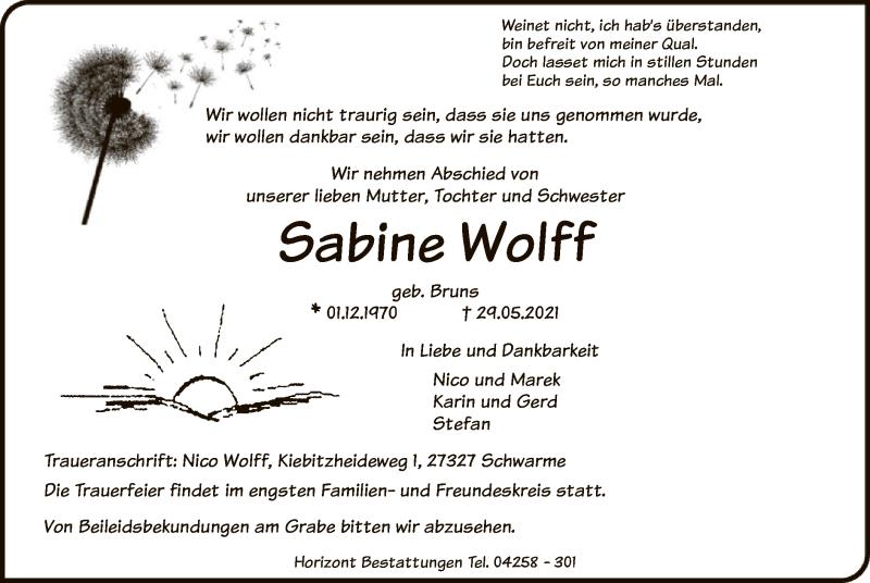Traueranzeige für Sabine Wolff vom 02.06.2021 aus SYK