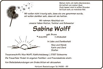 Traueranzeige von Sabine Wolff von SYK