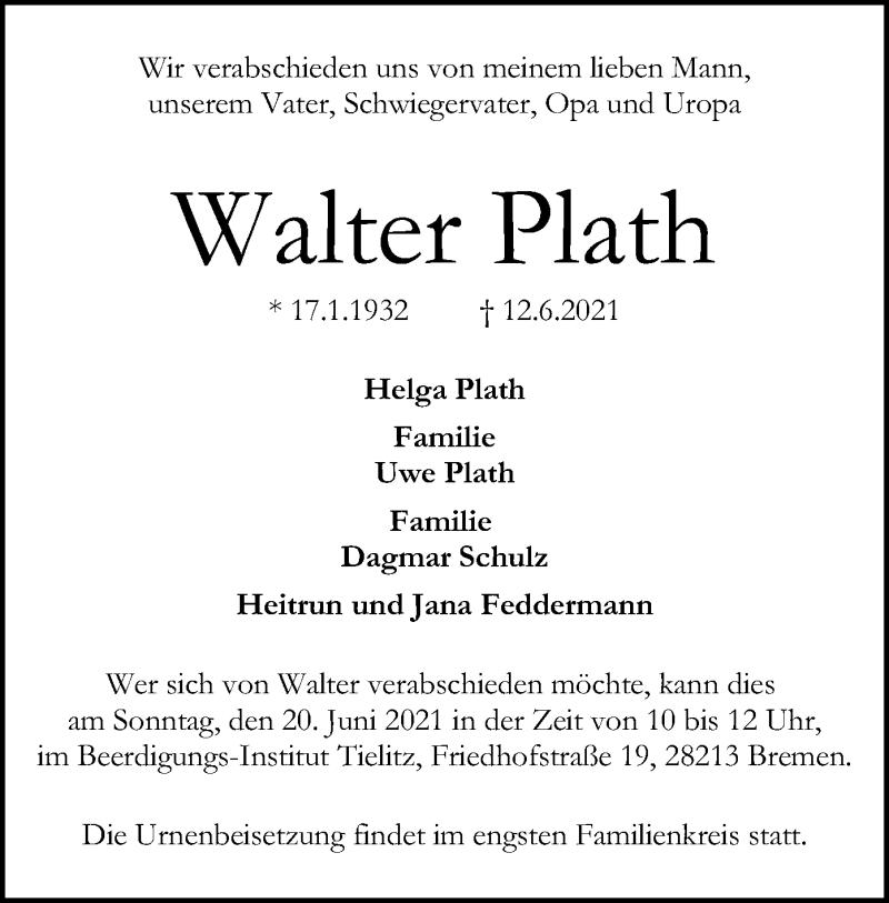 Traueranzeige für Walter Plath vom 19.06.2021 aus SYK