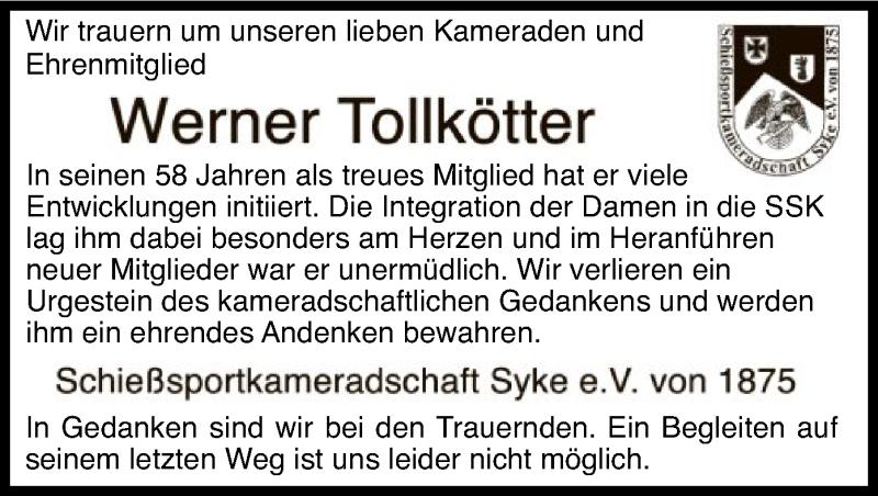 Traueranzeige für Werner Tollkötter vom 09.06.2021 aus SYK
