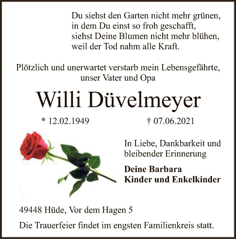 Traueranzeige für Willi Düvelmeyer vom 11.06.2021 aus SYK