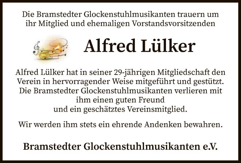 Traueranzeige für Alfred Lülker vom 31.07.2021 aus SYK