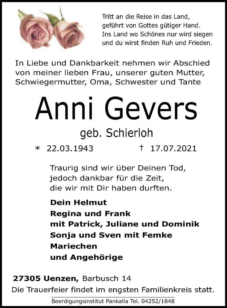 Traueranzeige für Anni Gevers vom 20.07.2021 aus SYK