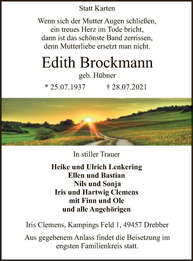 Traueranzeige für Edith Brockmann vom 31.07.2021 aus SYK