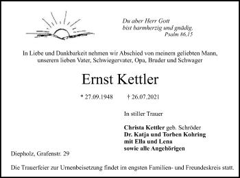 Traueranzeige von Ernst Kettler von SYK