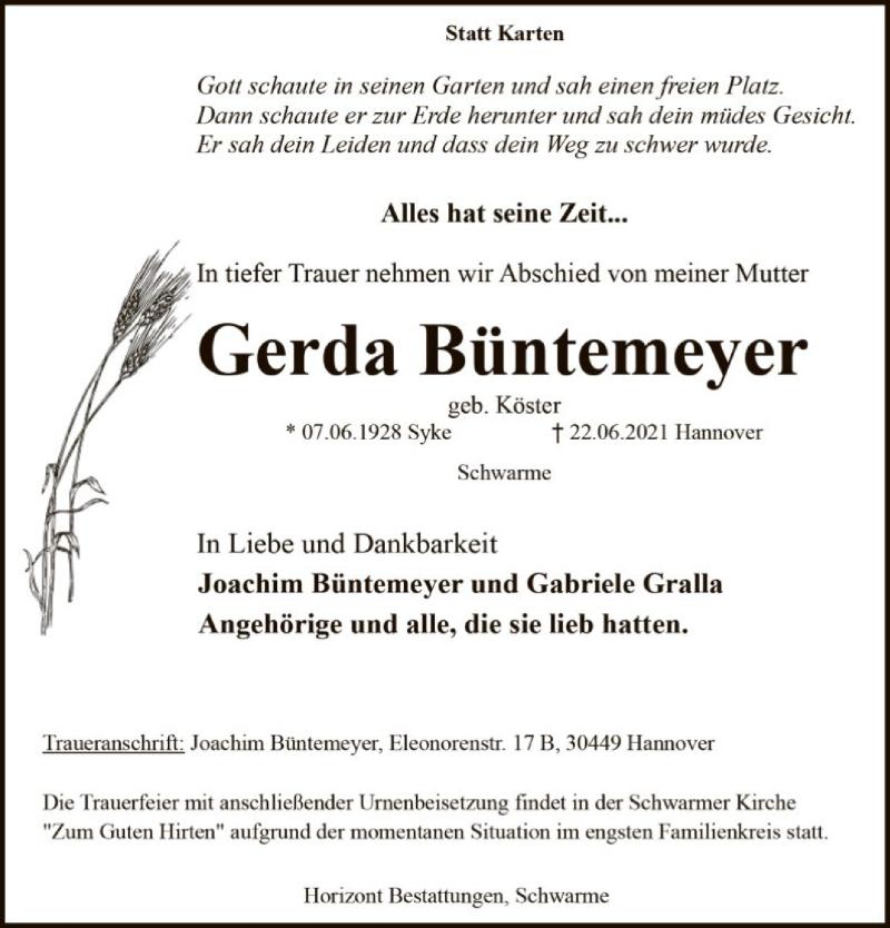 Traueranzeige für Gerda Büntemeyer vom 01.07.2021 aus SYK