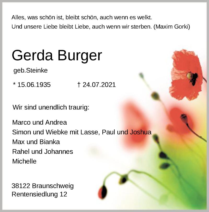 Traueranzeige für Gerda Burger vom 31.07.2021 aus SYK