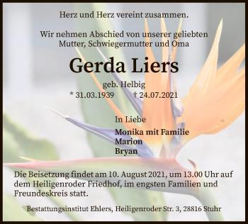 Traueranzeige von Gerda Liers von SYK