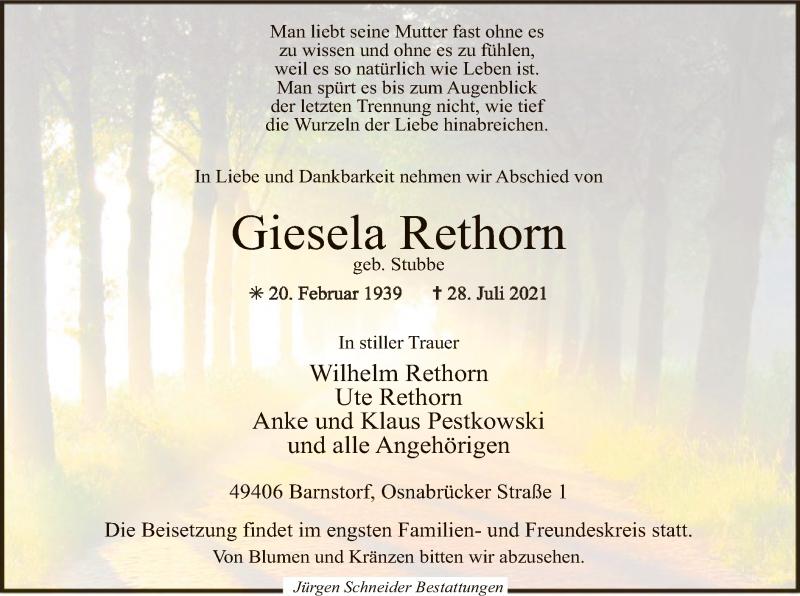Traueranzeige für Giesela Rethorn vom 31.07.2021 aus SYK