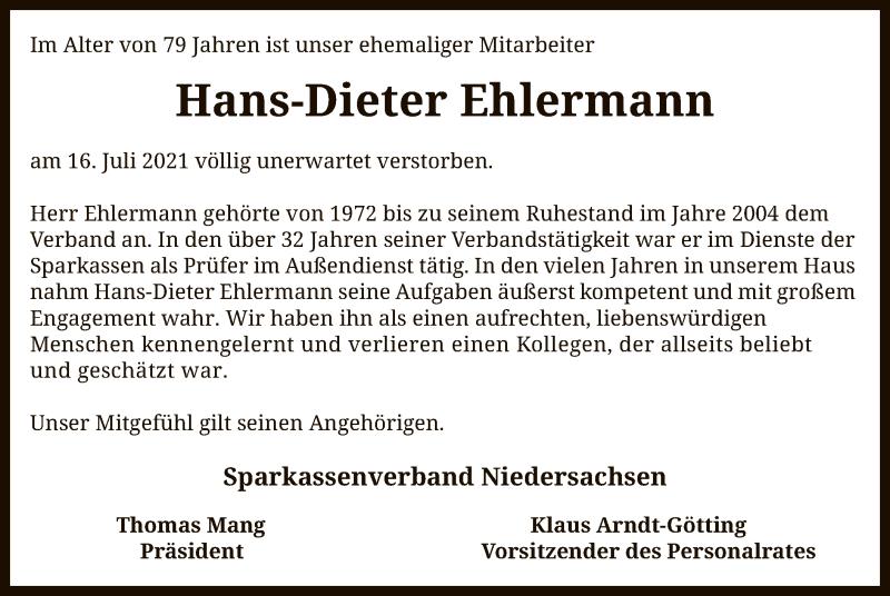 Traueranzeige für Hans-Dieter Ehlermann vom 24.07.2021 aus SYK