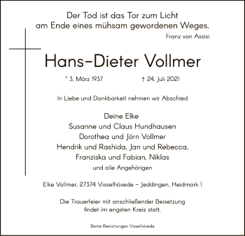 Traueranzeige von Hans-Dieter Vollmer von SYK