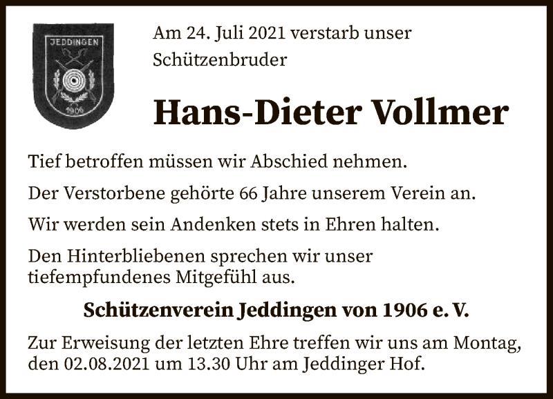 Traueranzeige für Hans-Dieter Vollmer vom 30.07.2021 aus SYK