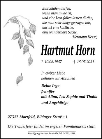 Traueranzeige von Hartmut Horn von SYK