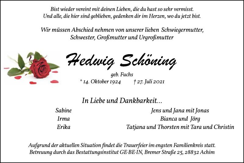 Traueranzeige für Hedwig Schöning vom 31.07.2021 aus SYK