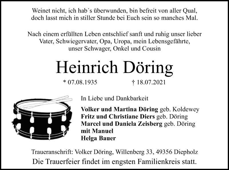 Traueranzeige für Heinrich Döring vom 21.07.2021 aus SYK