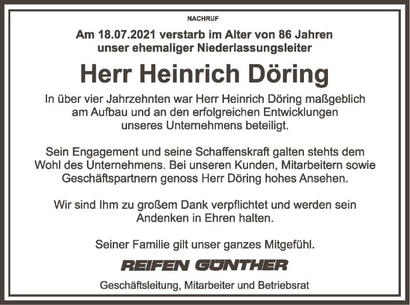 Traueranzeige für Heinrich Döring vom 22.07.2021 aus SYK