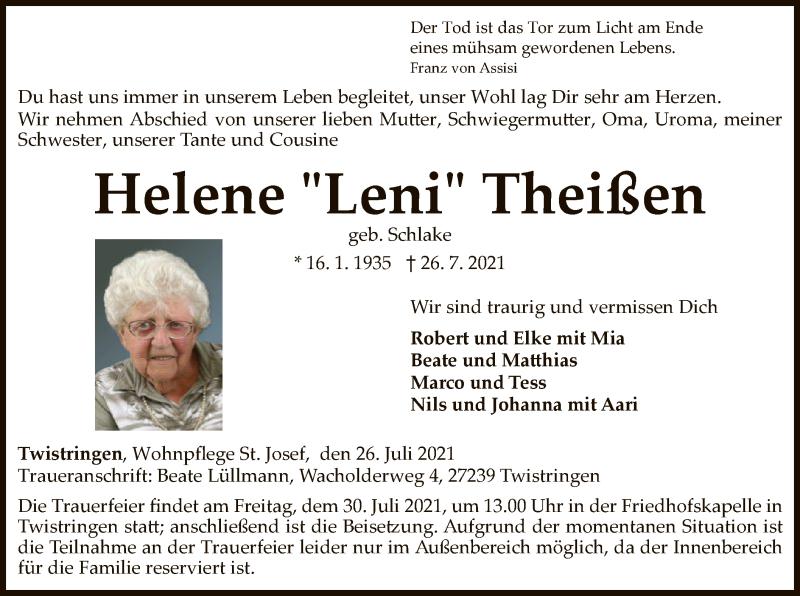 Traueranzeige für Helene Theißen vom 29.07.2021 aus SYK
