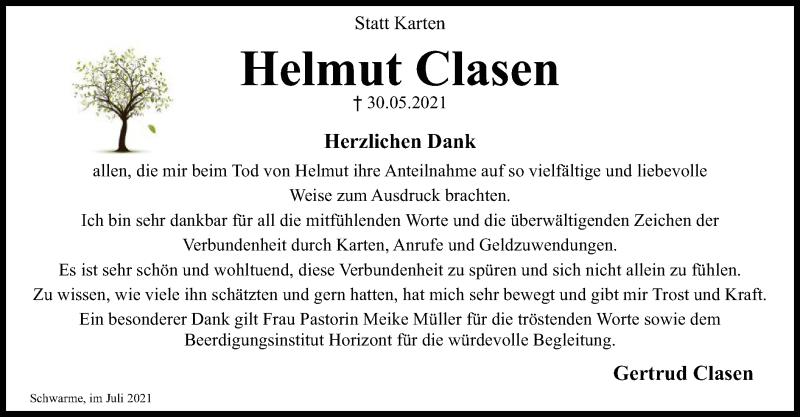 Traueranzeige für Helmut Clasen vom 10.07.2021 aus SYK