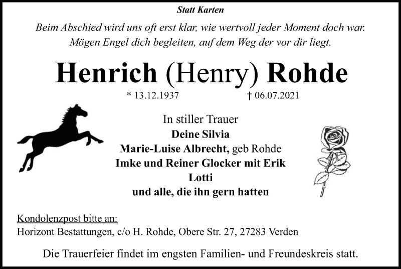 Traueranzeige für Henrich Rohde vom 17.07.2021 aus SYK