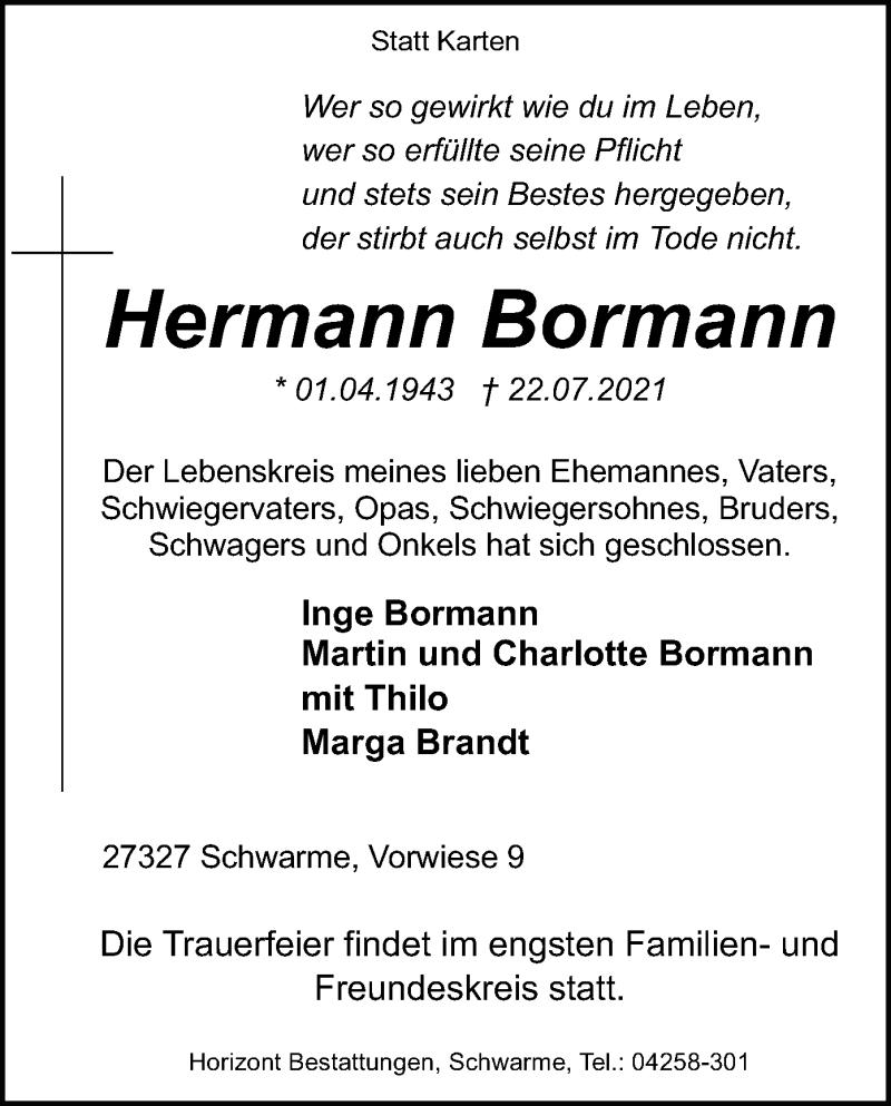 Traueranzeige für Hermann Bormann vom 27.07.2021 aus SYK
