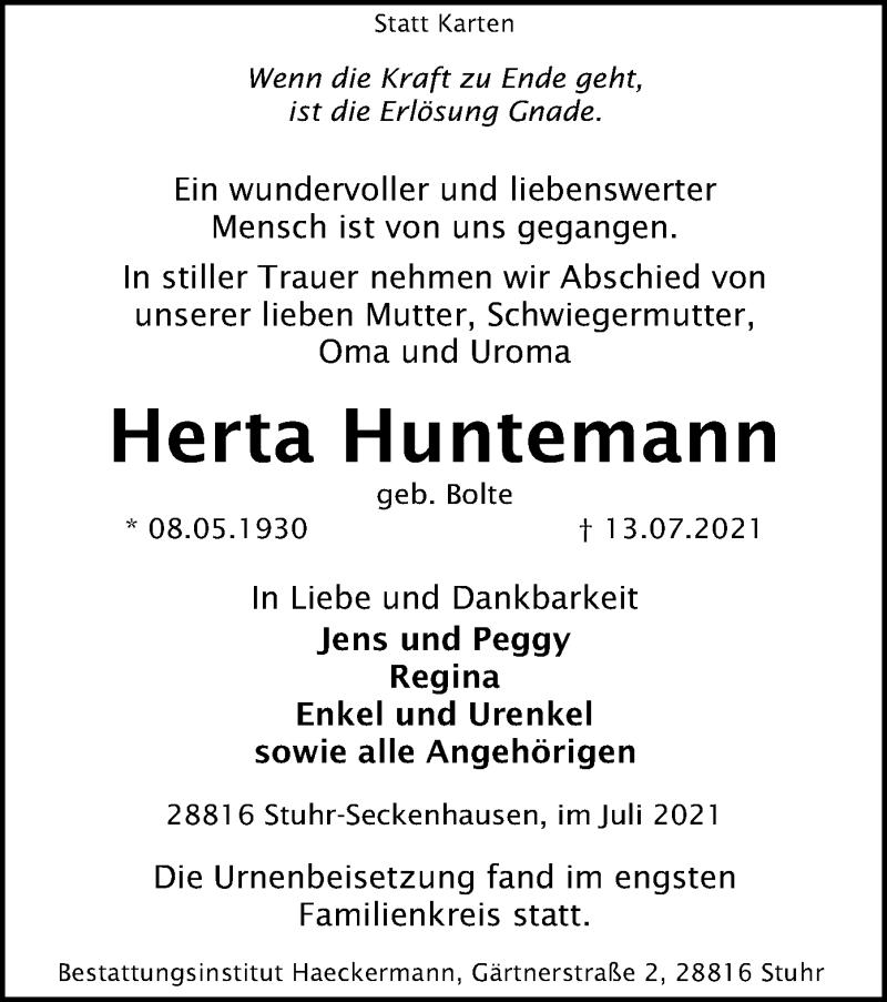 Traueranzeige für Herta Huntemann vom 31.07.2021 aus SYK