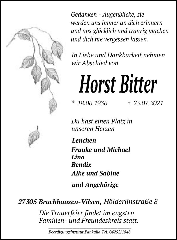 Traueranzeige für Horst Bitter vom 27.07.2021 aus SYK