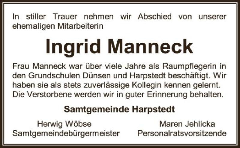 Traueranzeige für Ingrid Manneck vom 22.07.2021 aus SYK