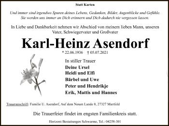 Traueranzeige von Karl-Heinz Asendorf von SYK