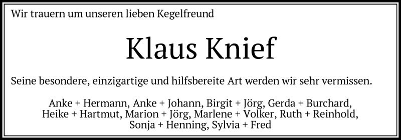 Traueranzeige für Klaus Knief vom 31.07.2021 aus SYK