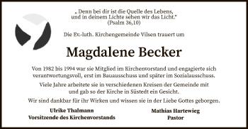 Traueranzeige von Magdalene Becker von SYK