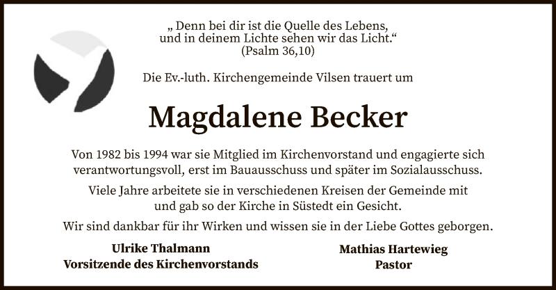 Traueranzeige für Magdalene Becker vom 31.07.2021 aus SYK