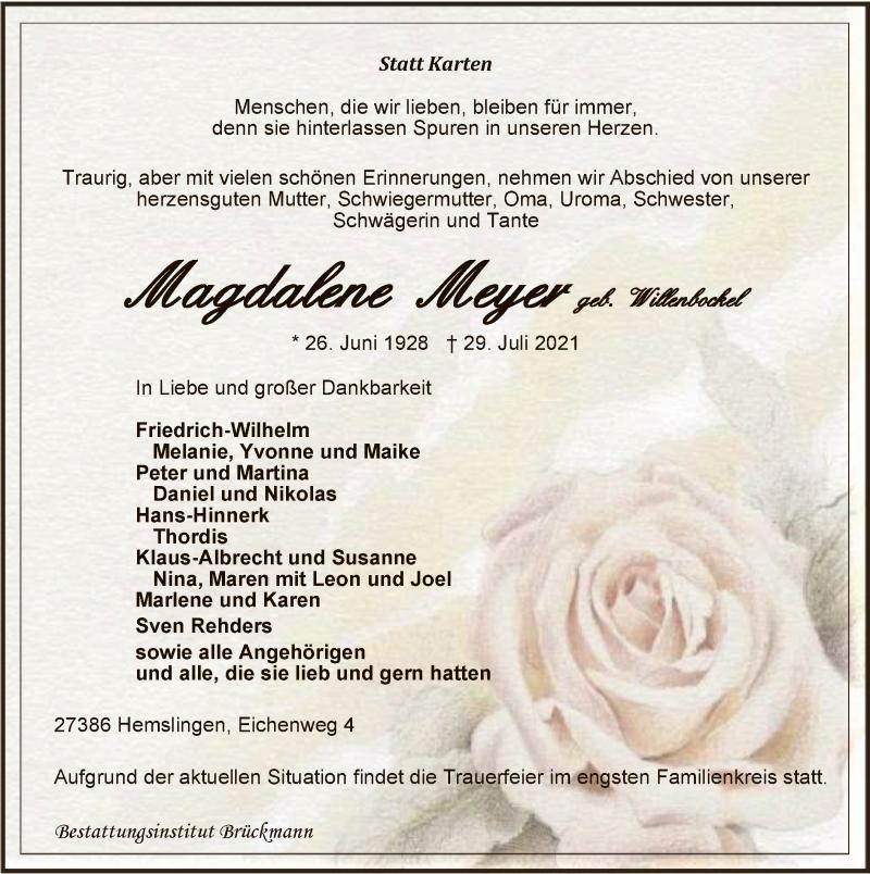 Traueranzeige für Magdalene Meyer vom 31.07.2021 aus SYK