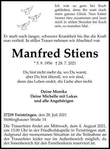 Traueranzeige von Manfred Stiens von SYK