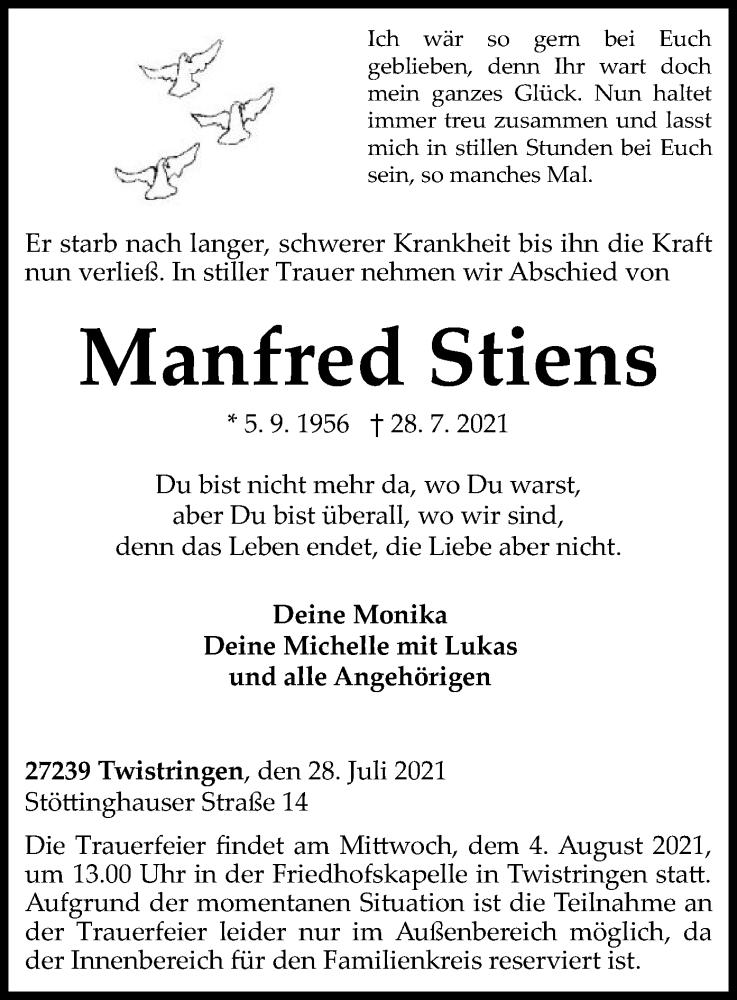 Traueranzeige für Manfred Stiens vom 31.07.2021 aus SYK