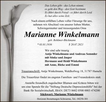 Traueranzeige von Marianne Winkelmann von SYK
