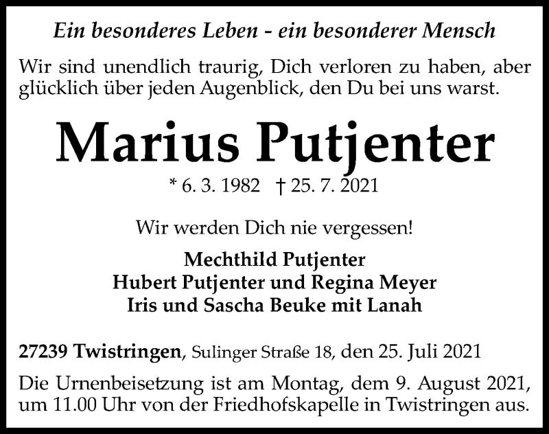 Traueranzeige für Marius Putjenter vom 31.07.2021 aus SYK