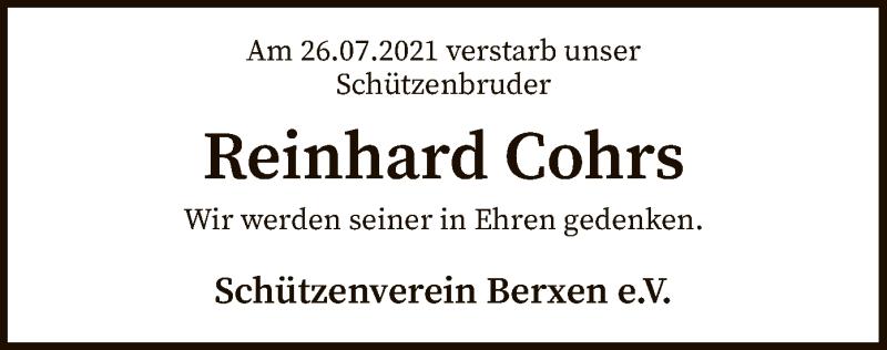Traueranzeige für Reinhard Cohrs vom 31.07.2021 aus SYK