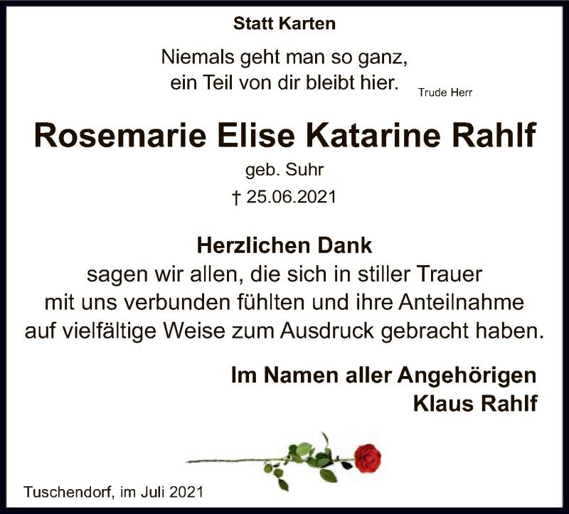 Traueranzeige für Rosemarie Elise Katarine Rahlf vom 31.07.2021 aus SYK