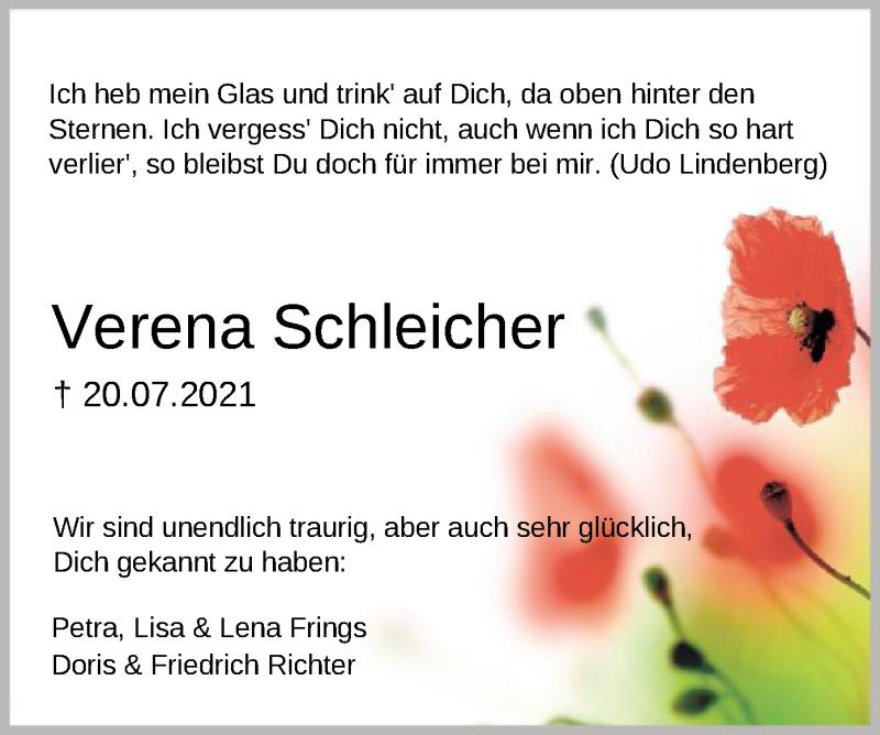 Traueranzeige für Verena Jeanette Schleicher vom 27.07.2021 aus SYK